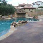 Pool Deck Stained in 2 Colors, Malay Tan and Black