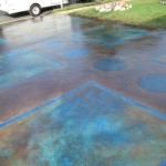 Overlay, Scored Pattern Driveway, English Red, Caribbean and Blue Stain